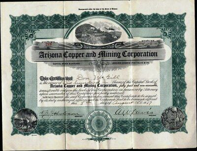 Arizona Copper And Mining Corporation, 1917, Uncancelled Stock Certificate