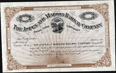 Aspen And Maroon Railway Co Of Colorado, 189-, Unissued Stock Certificate