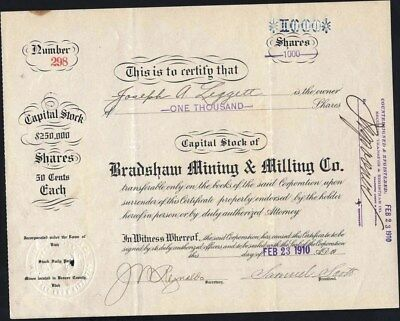 Bradshaw Mining & Milling Co, 1910, Mines In Beaver Co. Utah, Stock Certificate