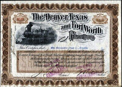 Denver, Texas And Fort Worth Railroad Co, 1890, Signed By Grenville Dodge, Rare