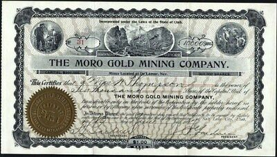Moro Gold Mining Co, 1907, Mines Located At De Lamar, Nevada, Uncancelled Stock