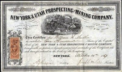 New York & Utah Prospecting And Mining Co, 1867, Uncancelled Stock Certificate