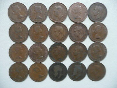 Lot of 20 Half Penny Coins of Great Britain - mix of reigns