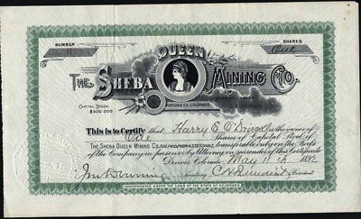 Sheba Queen Mining Co, 1892, Hinsdale Co, Co. Uncancelled Stock Certificate
