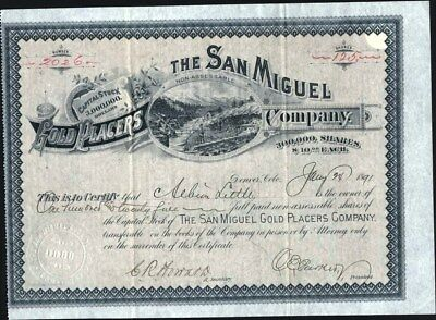 San Miguel Gold Placers Co, Telleride, Col., 1891, Uncancelled Stock Certificate