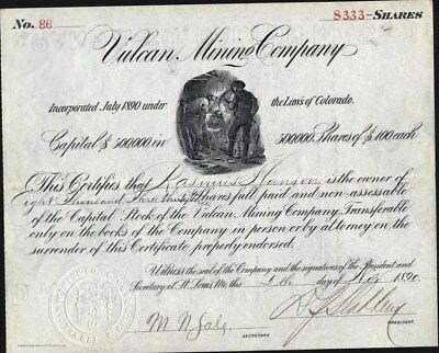 Vulcan Mining Co, Silverton, Co., 1890, Uncancelled Stock Certificate