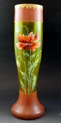 19C Victorian Enameled Glass Vase w/ Popppy Flower Moser Style No Reserve