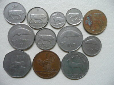 Lot of 12 Mixed Irish Animal Coins of Ireland - with one punt and predecimal