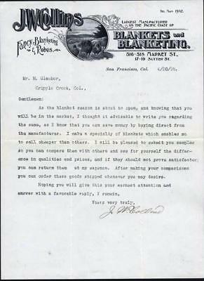 Letter Sent To Glauber, Clothier, Cripple Creek, Co 1898 From J. W. Collins, Sf,