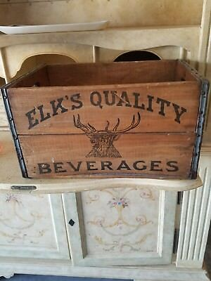 Antique ELKS QUALITY BEVERAGES Wood Crate Advertising  Box