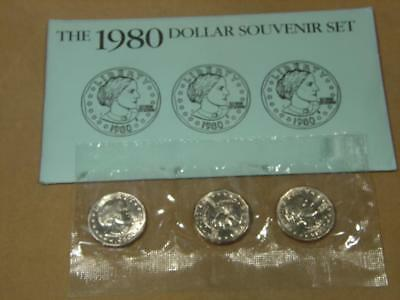 1980 Susan B. Anthony $1 Dollar Uncirculated 3 Coin Souvenir Set US Mint