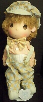 "Vtg 1986 Precious Moments Doll & Stand 14""T Applause Wallace Berrie Taiwan Boy"