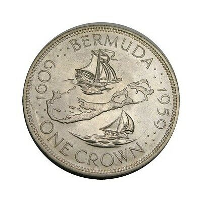elf Bermuda 1 Crown 1959 Silver  Ship Map