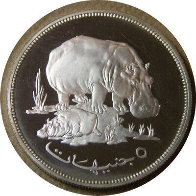 elf Sudan 5 Pounds AH 1396 AD 1976 Silver Proof Hippo