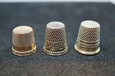 3 Antique thimbles, 10k, Sterling silver and Nicke-silver all in mint condition