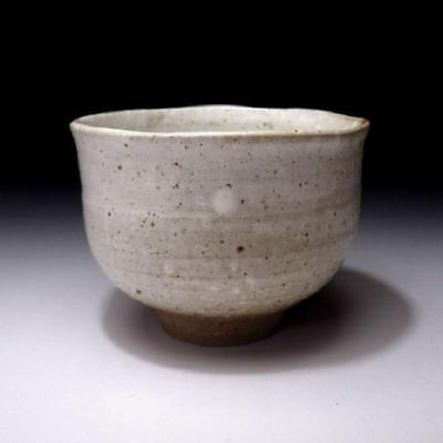 TN3: Vintage Japanese Pottery Tea Bowl, Karatsu Ware, White glaze