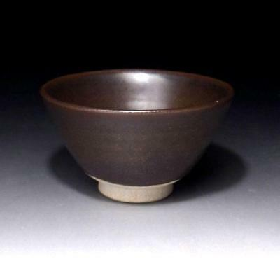 JB7: Vintage Japanese Pottery Tea Bowl, Seto ware, Brown Tenmoku glaze