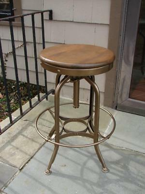 Antique TOLEDO Industrial Drafting Stool/Chair Adjustable Swivel  REFINISHED