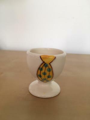 VINTAGE Ceramic HAND MADE Egg CUP Hand PAINTED Cream Yellow TIE Polka DOTS Blue