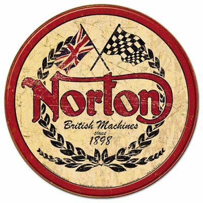 Norton Motorcycles Round Vintage Retro Tin Metal Sign 12 x 12in