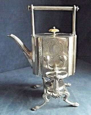 SUPERB Large ORNATE ~ SILVER Plated ~ ENGRAVED Spirit KETTLE on Stand ~ c1890