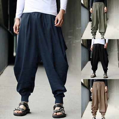 8db5513925 INCERUN Men Retro Cotton Linen Casual Harem Japanese Pants Trousers Hakama