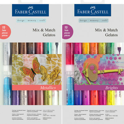 Faber-Castell Aquarellkreiden GELATOS 15-tlg. Sets Mix & Match Brights Metallic