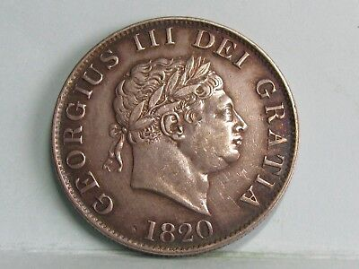 George Iii Silver Half-Crown Coin Dated 1820