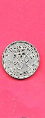 Great Britain Gb Uk 6 Pence Km875 1949 Vf-Very Fine-Nice Old Vintage Coin