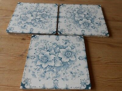 Three Beautiful Matching Antique Blue and White Tiles  (H)