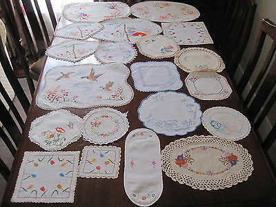 Lot Of 20 Vintage Hand Worked Embroidered Doilies ~ To Use ~ For Craft #4