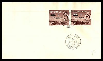 Seychelles 1957 Fishing Pirogue Surcharge Issue Pair Sealed Unaddressed Fdc Firs