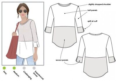 MLBW035S-M Style Arc Ladies Sewing Pattern Faith Woven Top