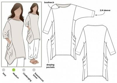 MLTW024S-M Style Arc Ladies Sewing Pattern Trudy Tunic Top