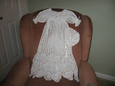 New Handmade Crocheted White Christening Gown and Bonnet