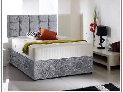 Cheap Crushed Velvet Divan Bed With Under Bed Storage Orthopedic Mattress