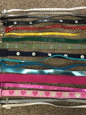 Girls Belt Lot Size 6-10 6 7 8 9 10 White Pink Aqua Blue Yellow Red Black Silver