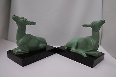 1920s Art Deco P. Mimaux Spelter Deep Fawn Bookends Signed France Lot of 2