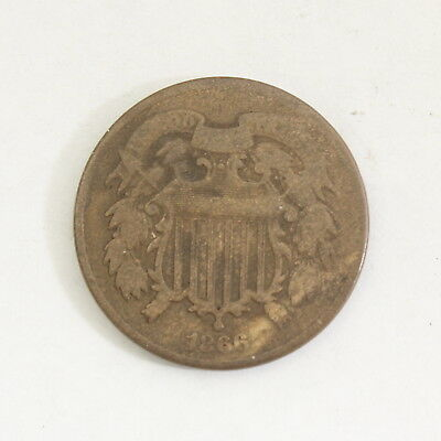 1866 2 Cent Piece US Coin 2C Penny