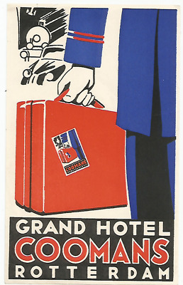 GRAND HOTEL COOMANS luggage TRAIN PORTER label (ROTTERDAM)