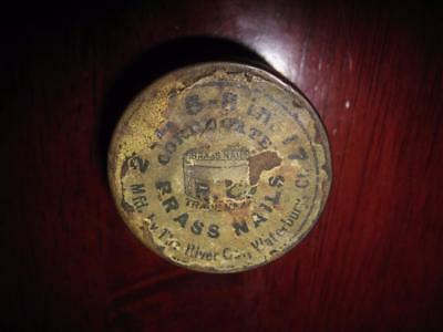 Antique Small Brass Cobbler's Container~'Brass Nails' ~Waterbury, Conn.