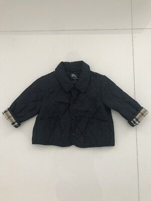 Burberry Baby Navy Quilted Blue Nova Check Raincoat 18m