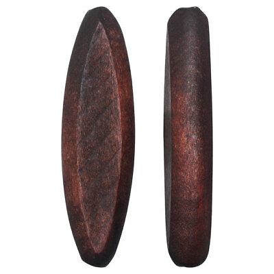 Smooth Wood Beads, Tapered Oval Slice 44x12mm, 4 Pieces, Dark Brown
