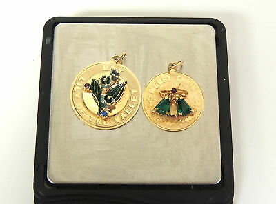 2 Vintage 14K Gold Emerald Christmas Charm & May Lily of the Valley Charm 7.8g