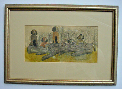 Vintage Folk Art Painting of Beagle Puppy Dogs