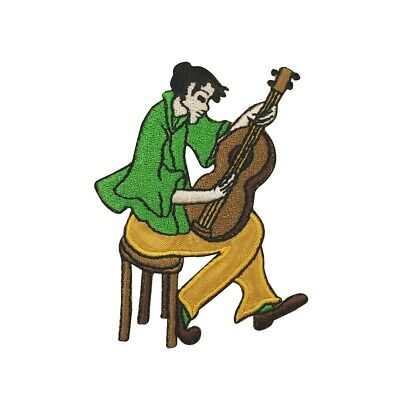 ID 9224 Musician Playing Guitar Patch Band Barb Embroidered Iron On Applique