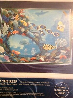 Sunset Crewel Embroidery Kit,BEAUTY & THE REEF,Dolphins,sharks,angel fish,11074