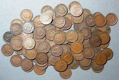 Indian Head Cents - 100 Coin Lot Of Mixed Dates