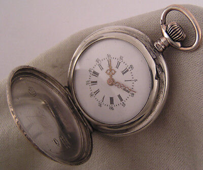 Superb 120-Years-Old Cylindre Antique Swiss Silver Hunter Pendant Watch Serviced