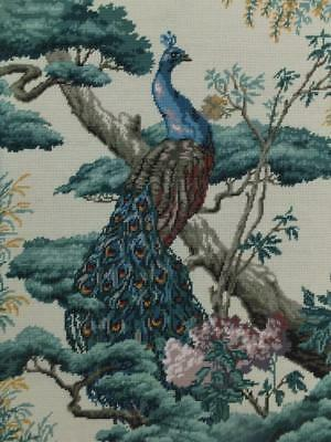 """26"""" Vintage Wool Tapestry Goblin Picture Panel Peacock Bird Oriental Hand Stitch"""
